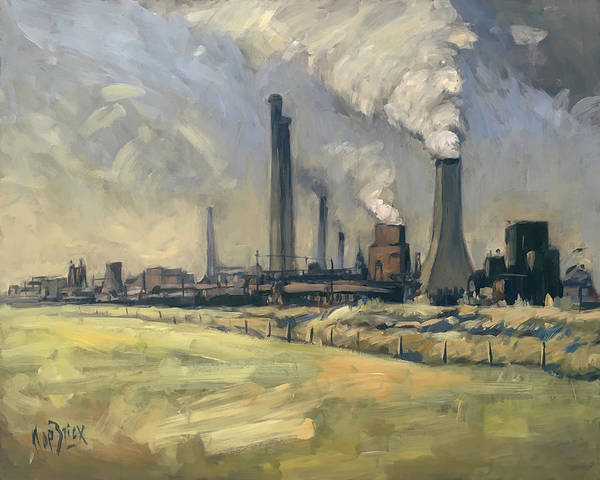 Painting - Smoke Stacks Prins Maurits Mine by Nop Briex