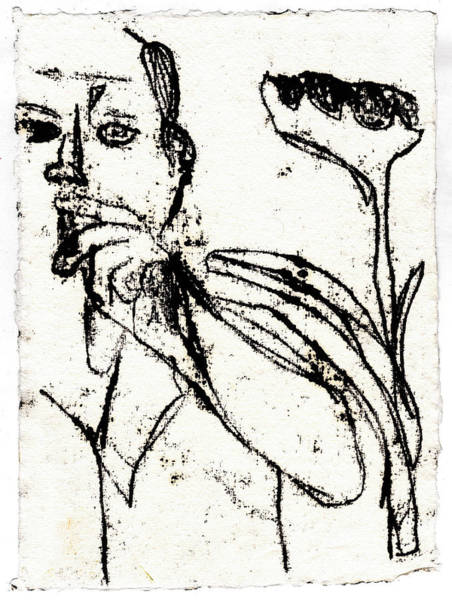 Drawing - Smoker And Sunflower Black Oil Drawing by Artist Dot