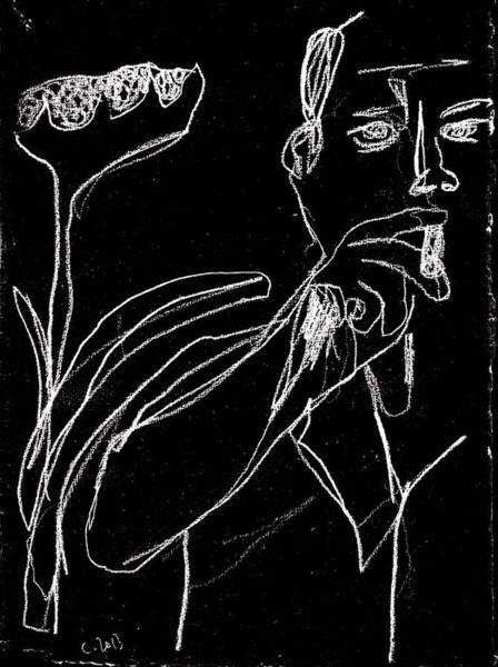 Digital Art - Smoker And Sunflower White On Black 2 by Artist Dot
