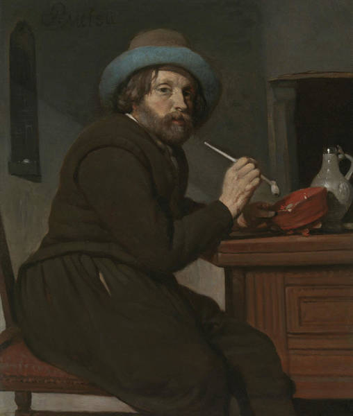 Wall Art - Painting - Smoker Seated At A Table by Gabriel Metsu