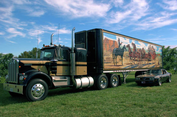Photograph - Smokey And The Bandit Tribute  Kenworth W900 Black And Gold Semi Truck by TeedMack