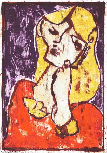 Painting - Smoking Blonde Woman by Artist Dot