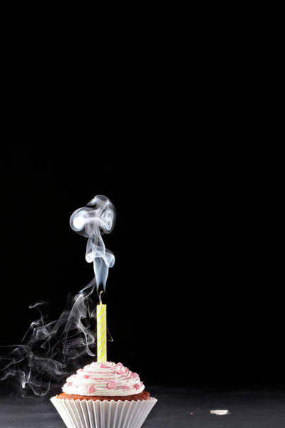 Wall Art - Photograph - Smoking Extinguished Candle On Iced Cup by Martin Poole