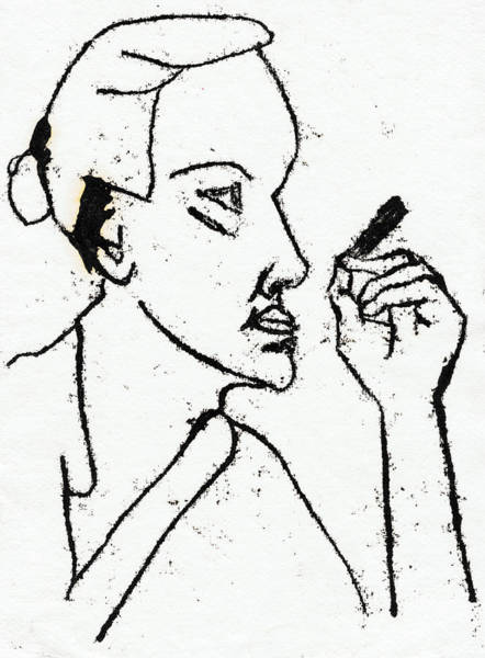 Drawing - Smoking Woman Looking Straight by Artist Dot