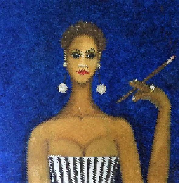 Mixed Media - Smoking Woman Mosaic by Joan Stratton