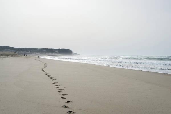 Photograph - Smooth Beach - Leading Footsteps On The Sand by Georgia Mizuleva