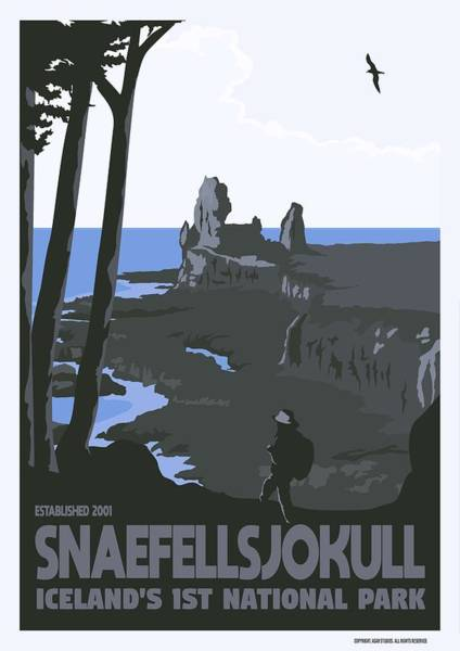 Wall Art - Painting - Snaefellsjokull, Iceland's 1st National Park V4 by Celestial Images