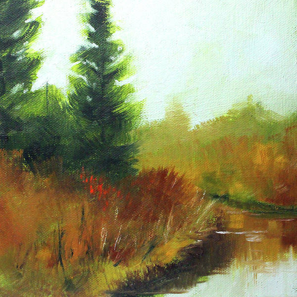 Wall Art - Painting - Snake Lake Landscape by Nancy Merkle