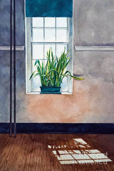 Painting - Snake Plant On Window Sill In Painting by Christopher Shellhammer