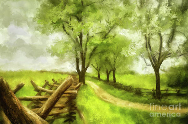 Digital Art - Snake Rail Fences At Antietam by Lois Bryan
