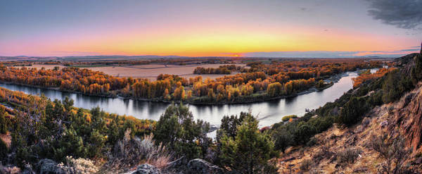 Photograph - Snake River Panoramic Sunset by Leland D Howard