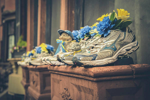 Photograph - Sneakers With Flowers - Boston Marathon by Joann Vitali