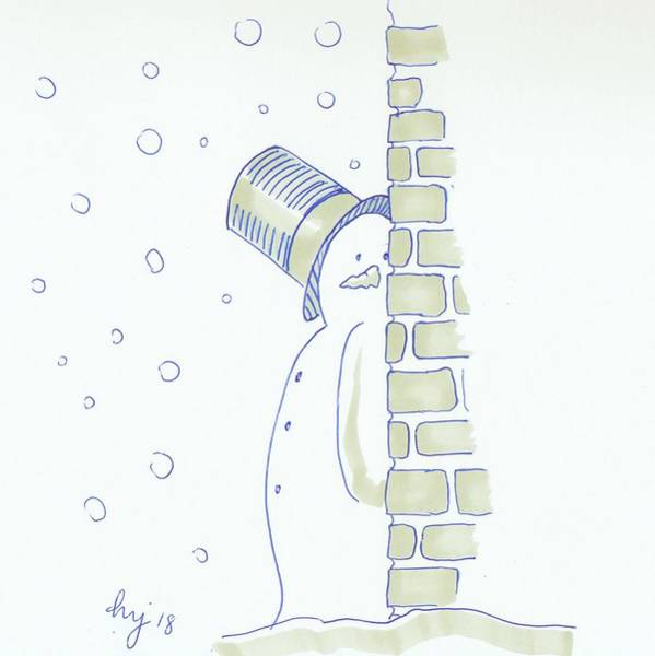 Drawing - Sneaky Snowman Christmas Cartoon by Mike Jory