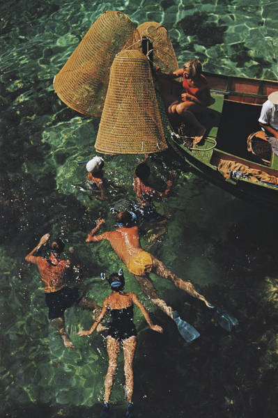 Color Image Photograph - Snorkelling In Malta by Slim Aarons