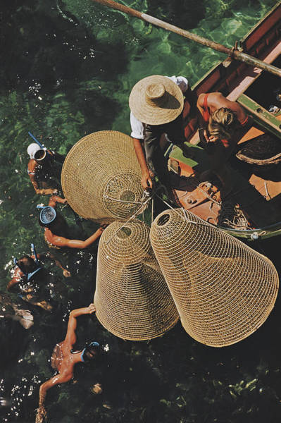 Fish Trap Photograph - Snorkelling In The Shallows by Slim Aarons