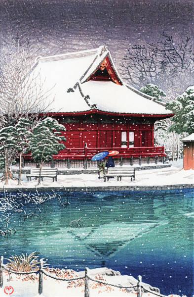 Wall Art - Painting - Snow At Benten Shrine, Shinobazu - Digital Remastered Edition by Kawase Hasui