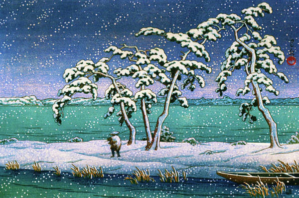Wall Art - Painting - Snow At Hi Marsh, Mito - Digital Remastered Edition by Kawase Hasui