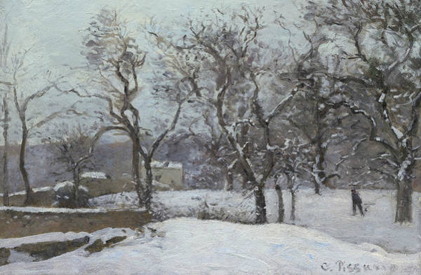 Wall Art - Painting - Snow At Louveciennes by Camille Pissarro
