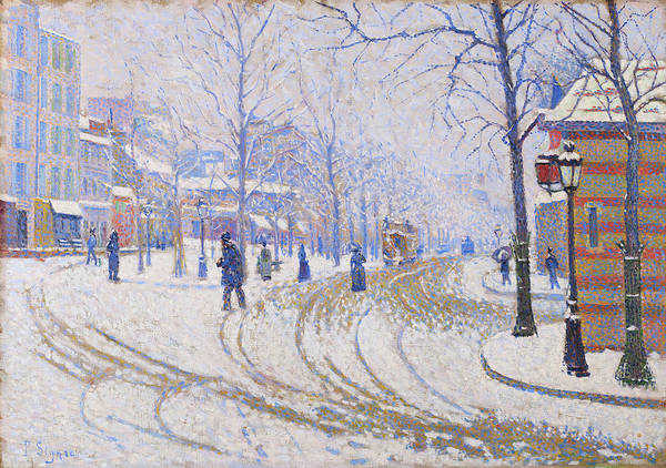 Neo-impressionism Wall Art - Painting - Snow, Boulevard De Clichy, Paris - Digital Remastered Edition by Paul Signac
