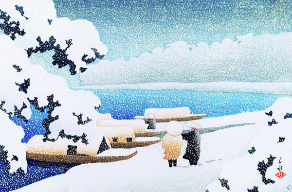 Wall Art - Painting - Snow Bridge, The Series Souvenirs Of Travel II - Digital Remastered Edition by Kawase Hasui