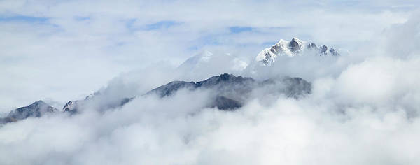 East Asia Photograph - Snow-capped Mountain In Clouds by Keren Su