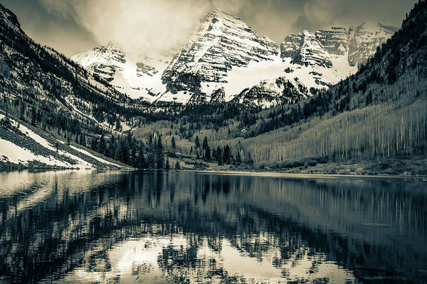 Photograph - Snow Capped Mountain Peaks - Maroon Bells In Sepia by Gregory Ballos