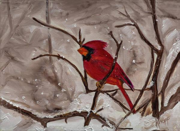Painting - Snow Cardinal by Kathy Knopp