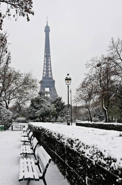 Bertrand Photograph - Snow Carpets Benches And Eiffel Tower by Jade And Bertrand Maitre