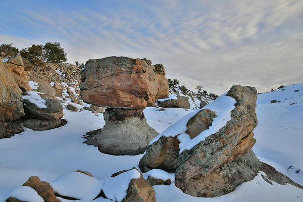 Photograph - Snow Covered Balanced Rock In Bentonite Site by Ray Mathis