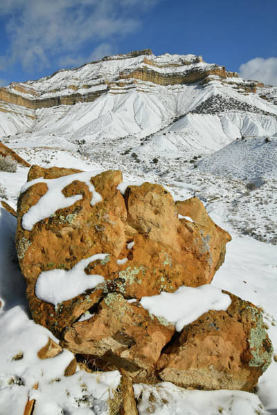 Photograph - Snow Covered Book Cliffs And Boulders by Ray Mathis