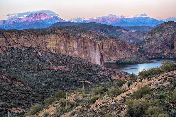 Photograph - Snow Covered Four Peaks Canyon Lake by Dave Dilli