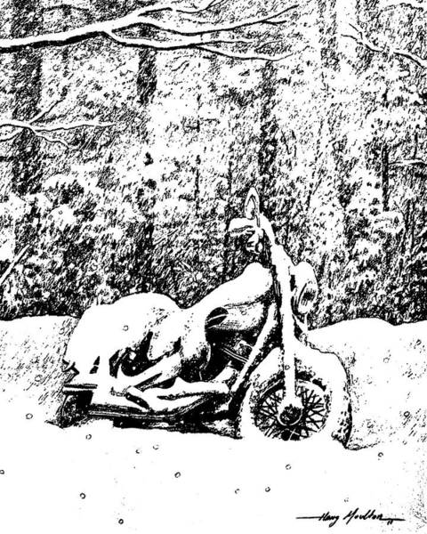 Drawing - Snow Covered Harley Threshold 1 by Harry Moulton