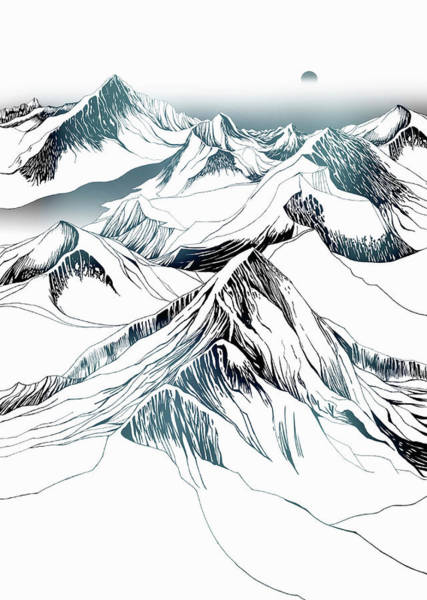 Remote Digital Art - Snow-covered Mountains With Sun In by Nick Purser