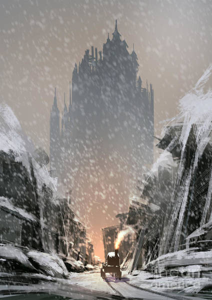 Mystery Digital Art - Snow-covered Ruined Buildings Leads by Tithi Luadthong