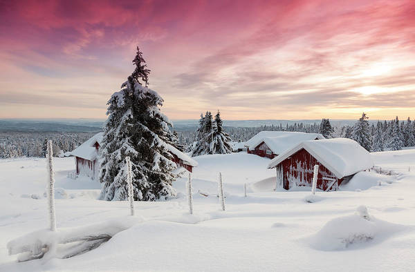 Lillehammer Photograph - Snow Covered Village At Sunset by Rob Kints