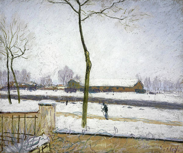 Pastel Drawing Painting - Snow Effect, 1885 by Alfred Sisley