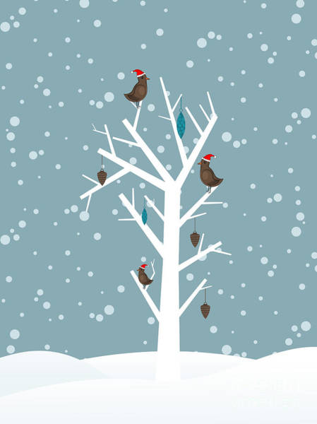 Celebration Digital Art - Snow Fall Background With Birds Sitting by Allies Interactive