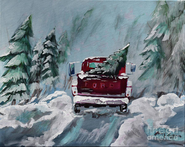 Painting - Dashing Thru The Snow - Ford Truck by Jan Dappen