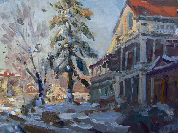 Wall Art - Painting - Snow In Town by Ylli Haruni
