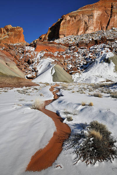 Photograph - Snow Melting Beneath Cohab Canyon In Capitol Reef by Ray Mathis