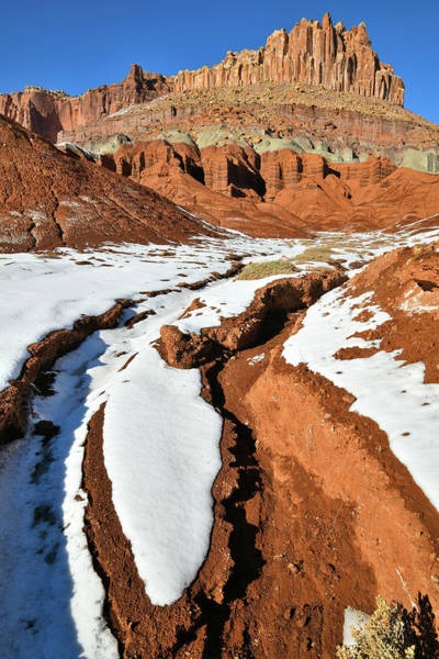 Photograph - Snow Melting Beneath The Castle In Capitol Reef Np by Ray Mathis