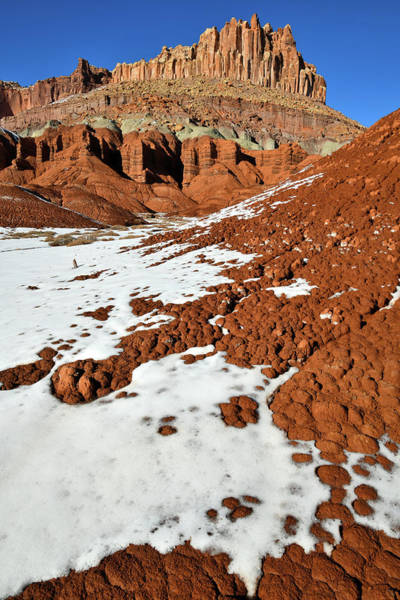 Photograph - Snow Mosaic Beneath The Castle In Capitol Reef by Ray Mathis
