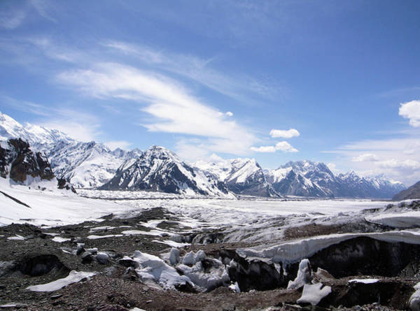 Snow Mountains And Deserted Land Art Print