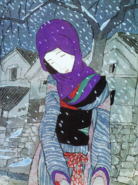 Wall Art - Painting - Snow Night Legend - Digital Remastered Edition by Takehisa Yumeji