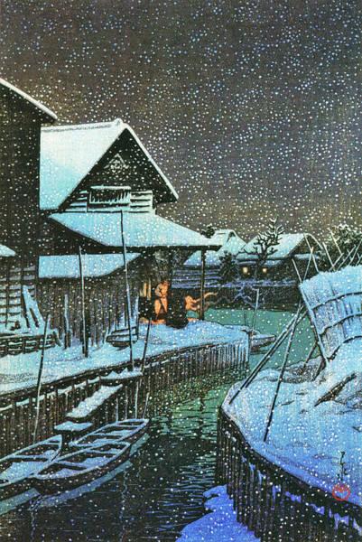 Wall Art - Painting - Snow Night, Urayasu - Digital Remastered Edition by Kawase Hasui