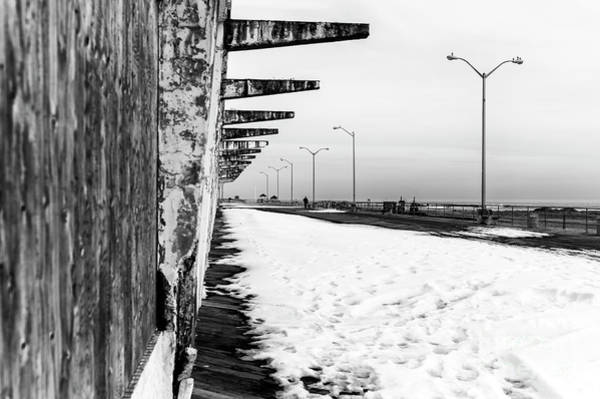 Down The Shore Photograph - Snow On The Boardwalk In Asbury Park by John Rizzuto