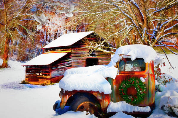 Photograph - Snow On The Country Farm Painting by Debra and Dave Vanderlaan