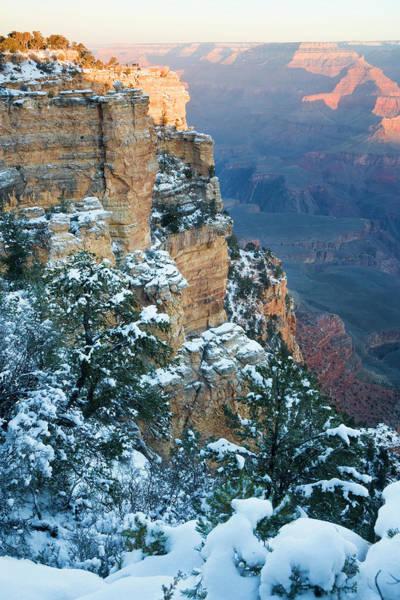 North Rim Photograph - Snow, South Rim, Grand Canyon, Arizona by Peter Adams