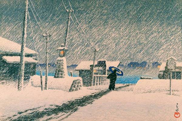 Snowscape Painting - Snow Tsukishima - Top Quality Image Edition by Kawase Hasui