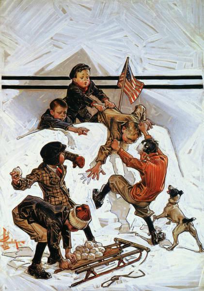 Wall Art - Painting - Snowball Fight - Digital Remastered Edition by Joseph Christian Leyendecker